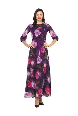 Aujjessa Purple Floral Print A-Line Polyester Maxi Dress