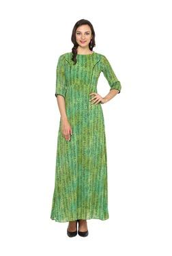 Aujjessa Green Printed A-Line Polyester Maxi Dress