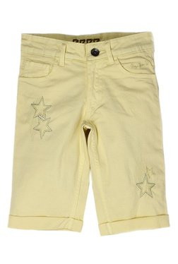 fce1e11c1b97 Pepe Jeans Kids Yellow Embroidered Capri