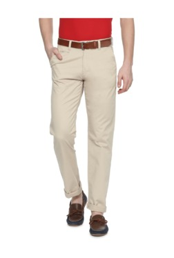 Peter England Khaki Slim Fit Cotton Trousers