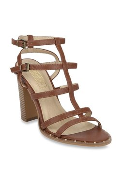 Truffle Collection Dark Tan Ankle Strap Sandals