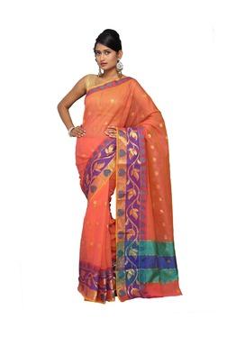 Pavecha's Orange Printed Cotton Silk Kota Doria Saree