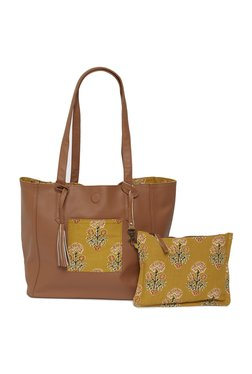 Westside Tan Reversible Tote Bag With Pouch