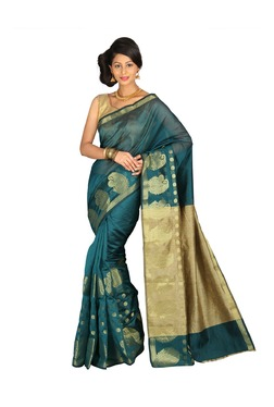 Pavecha's Blue Printed Cotton Silk Banarasi Saree - Mp000000003204944