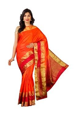Pavecha's Orange Printed Cotton Silk Bollywood Saree