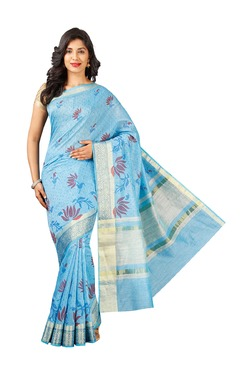 Pavecha's Blue Printed Cotton Silk Banarasi Saree - Mp000000003205057