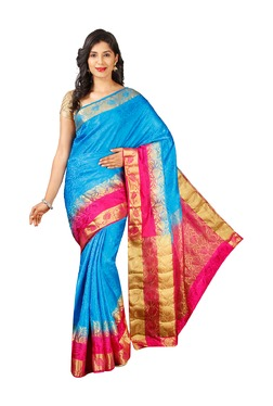 Pavecha's Blue Printed Cotton Silk Bollywood Saree