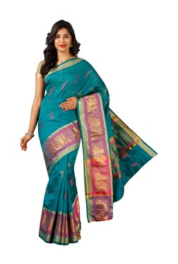 Pavecha's Blue Printed Cotton Silk Banarasi Saree - Mp000000003205072