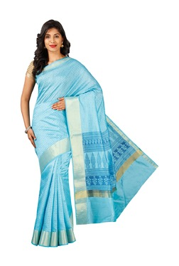 Pavecha's Blue Printed Cotton Silk Banarasi Saree