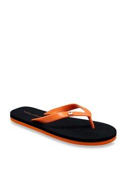 United Colors Of Benetton Orange & Black Flip Flops