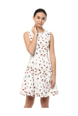 Solly By Allen Solly White Printed Above Knee Dress