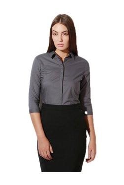 Van Heusen Grey Polka Dot Cotton Shirt