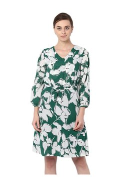 Van Heusen Green Printed Knee Length Dress
