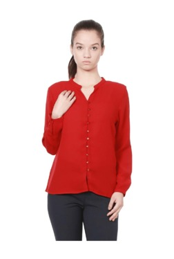Solly By Allen Solly Red Regular Fit Polyester Top
