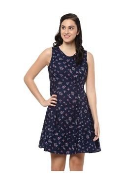 Solly By Allen Solly Navy Floral Print Cotton Dress