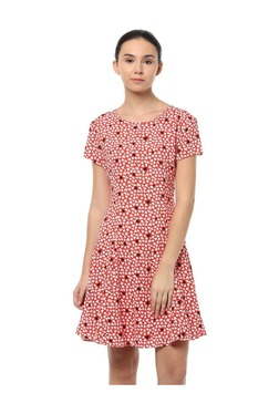 Solly By Allen Solly Red Printed Above Knee Dress
