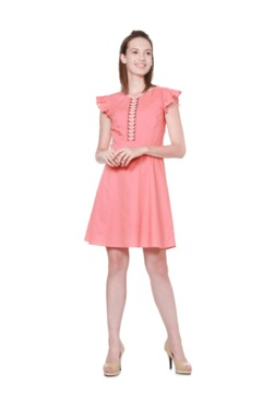 Solly By Allen Solly Peach Above Knee Cotton Dress
