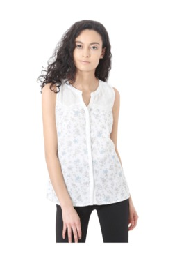People White Printed Cotton Top