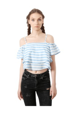 People Blue Striped Cotton Crop Top