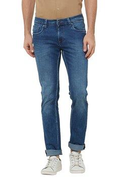 Lawman Dark Blue Slim Fit Mid Rise Solid Cotton Jeans