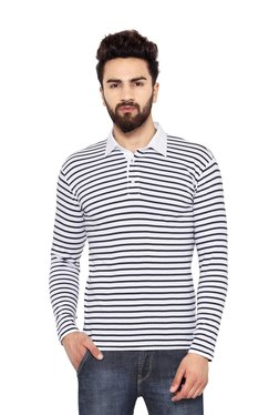 Hypernation White Full Sleeves Striped T-Shirt