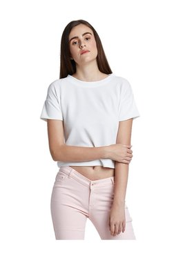 AND White Regular Fit Crop Top