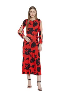 AND Red Floral Print Midi Cotton Dress