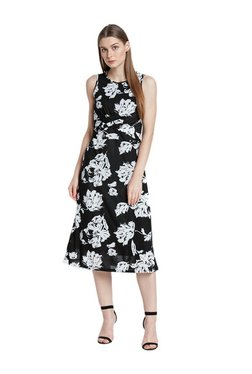 AND Black Floral Print Midi Dress