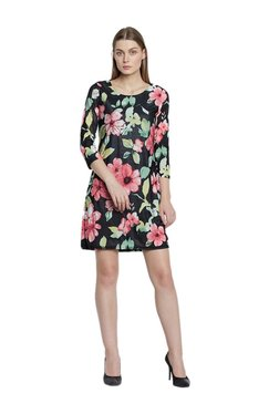 AND Black Floral Print Above Knee Dress