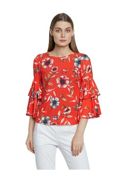 AND Red Floral Print Top