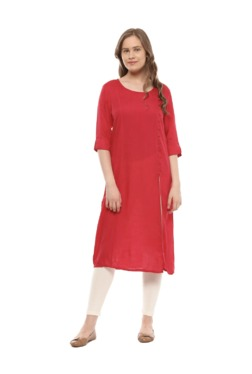 People Red Round Neck Rayon Kurta