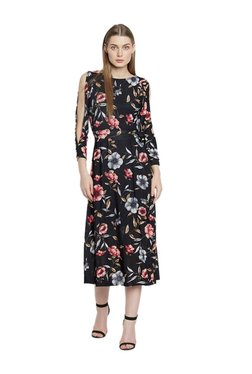 AND Black Floral Print Midi Cotton Dress