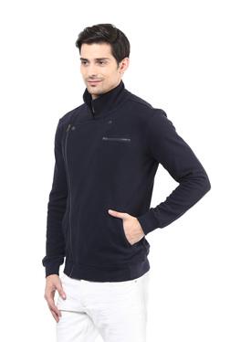Hypernation Navy Cotton Full Sleeves Jacket