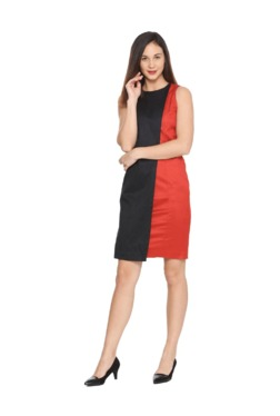 Solly By Allen Solly Red & Black Above Knee Dress