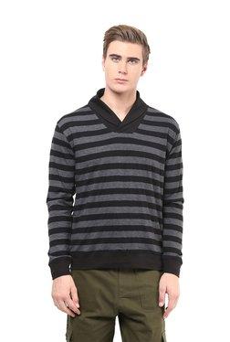 Hypernation Black & Grey Striped Shawl Collar T-Shirt