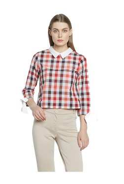 AND Brown & Red Checks Cotton Top