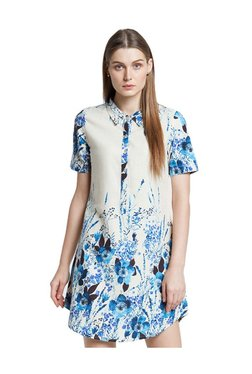 AND Blue & Beige Floral Print Linen Tunic