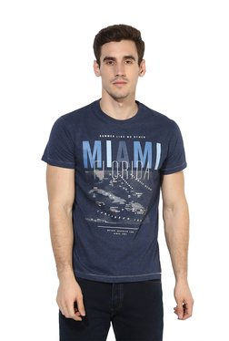 Octave Navy Regular Fit Printed Cotton Round Neck T-Shirt