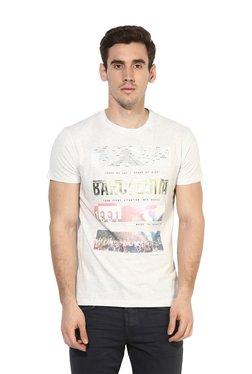 Octave Off-White Round Neck Cotton T-Shirt