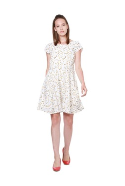Solly By Allen Solly White Printed Above Knee Dress - Mp000000003234246