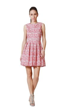 Solly By Allen Solly Red Printed Above Knee Dress - Mp000000003234349
