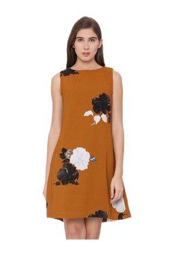 Van Heusen Brown Floral Print Above Knee Dress