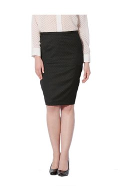 Van Heusen Black Printed Knee Length Skirt - Mp000000003234425