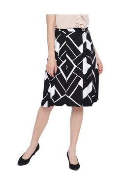 Van Heusen Black Printed Knee Length Skirt