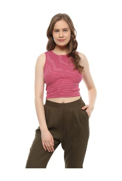 People Pink Striped Cotton Crop Top