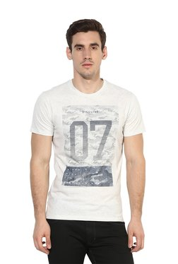 Octave Off-White Round Neck Printed T-Shirt