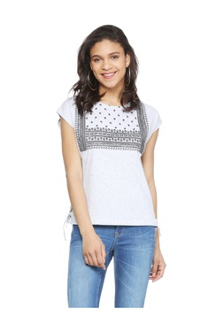 People Grey Printed Cotton Top - Mp000000003234097