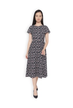 Van Heusen Black Floral Print Midi Dress