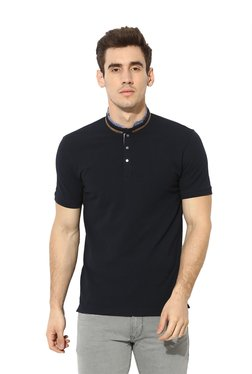 Octave Navy Cotton Half Sleeves Band Collar T-Shirt