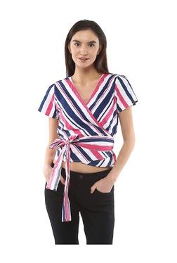 People Navy & Pink Striped Cotton Crop Top